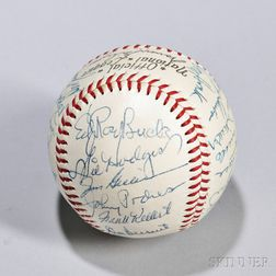 Early 1950s Brooklyn Dodgers Signed Baseball