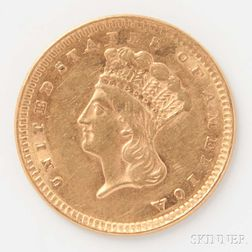 1856 $1 Upright 5 Gold Coin