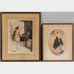 Louis Icart (French, 1888-1950)      Three Framed Etchings: Fleurs de Paris (1930), Marchande de Marrons (1928)