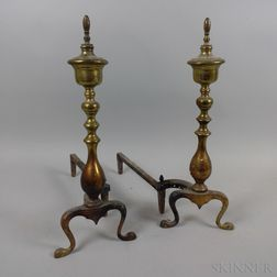 Pair of Brass and Iron Andirons.     Estimate $20-200