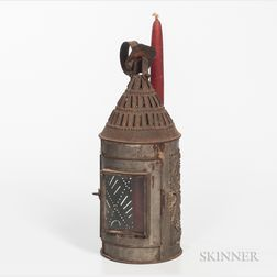 Pierced Tin and Glass Lantern