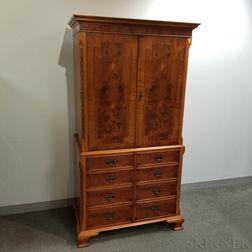 George III-style Inlaid Walnut Veneer Television Cabinet