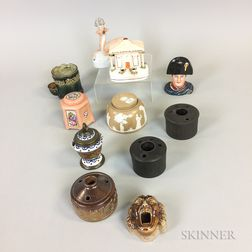 Eleven Ceramic and Stoneware Inkwells
