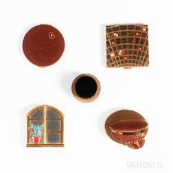 Five Vintage Figural Compacts