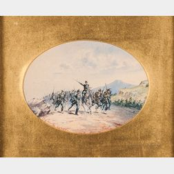 French School, 19th Century    Leading the Charge/A Franco-Prussian Battle Scene