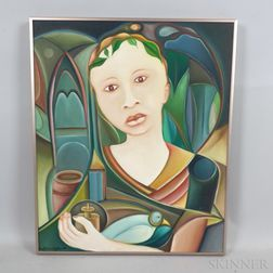 Alphonse Fritzner (Haitian, 1938-2006)      Girl with a Bird
