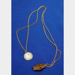 1877 U.S. Seated Dime Presentation Medal and a Stone Crucifix Pendant