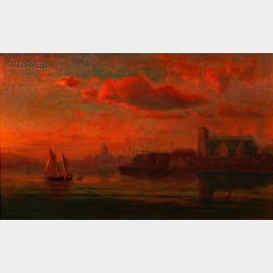 Sylvester Phelps Hodgdon (American, 1830-1906)      Harbor Twilight/Probably the Cathedral of the Holy Cross Viewed from South Boston