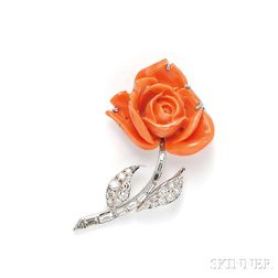 Coral and Diamond Flower Brooch