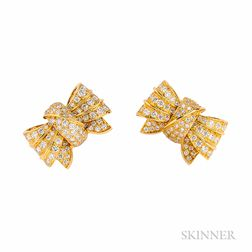 18kt Gold and Diamond Bow Earclips