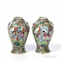 Two Rose Medallion Vases