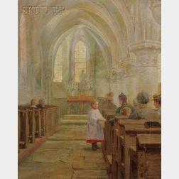Lee Lufkin Kaula (American, 1865-1957)      Old Stone Church Interior, La Chapelle