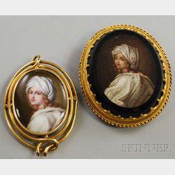 Two Antique Portrait Jewelry Items