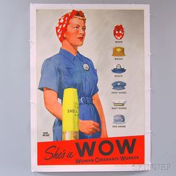 Adolph Treidler U.S. WWII She's a WOW   Lithograph Poster