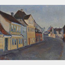 Danish School, 20th Century      Street Scene, Vindeby, Denmark.