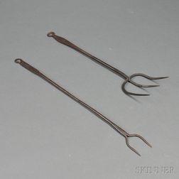 Two Wrought Iron Hearth Forks