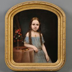 Attributed to Alexander Hamilton Emmons (Connecticut, 1816-1884)      Portrait of a Young Girl Wearing a Blue Dress.
