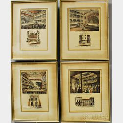 Set of Four Framed Robert Wilkinson Hand-colored Prints