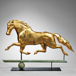 "Molded Gilt Copper ""Patchen"" Running Horse Weathervane"