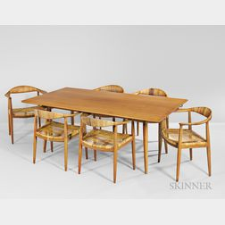 Hans Wegner Dining Table and Six Dining Chairs