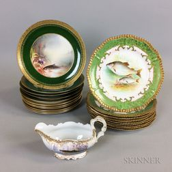 Two Sets of Limoges Fish Plates and a Sauceboat