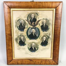 Framed R. Cooke Hand-colored Lithograph of Seven Presidents
