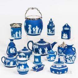 Sixteen Wedgwood Dark Blue Jasper Items