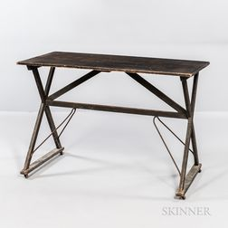 Gray-painted Poplar Side Table