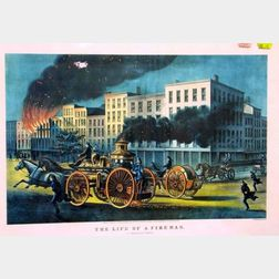 Reproduction Currier and Ives Small Folio The Life of a Fireman
