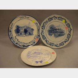 Two Volkmar Pottery Commemorative George Washington Plaques and a Blue and White   Transfer Decorated Washington Ironstone Plate