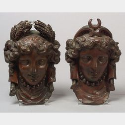 Pair of Carved Mahogany Wall Plaques of Artemis and Demeter