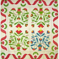 Green and Red Princess Feather Variation Applique Cotton Quilt.