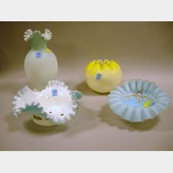Four Pieces of Victorian Colored Art Glass