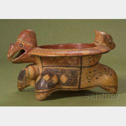 Pre-Columbian Polychrome Pottery Effigy Vessel