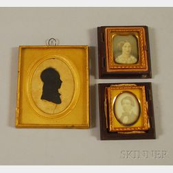 Two Sixteenth-plate Daguerreotype Portraits and a Silhouette