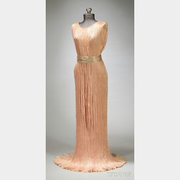 """Mariano Fortuny Silk Pleated """"Delphos"""" Gown with Venetian Glass Beadwork"""