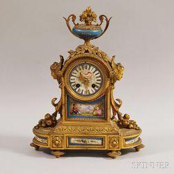 Louis XVI-style Brass and Porcelain Mantel Clock