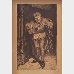 William Merritt Chase (American, 1849-1916) Etching of a Jester
