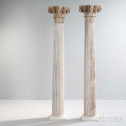 Pair of Architectural Columns with Corinthian Capitals