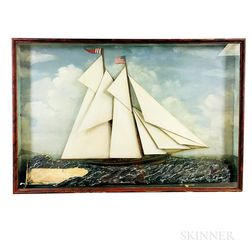 Framed Carved and Painted Diorama of an American Ship