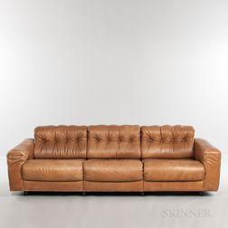 Tufted-back Tan Leather Sofa