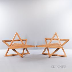 Two Star-shaped Oak Chairs