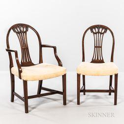 Set of Six Sheraton-style Mahogany Dining Chairs