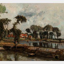 Henri Van Der Hecht (Belgian, 1841-1901)      Broad Landscape with a River and Dam, Houses Beyond