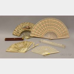 Four 19th Century French Folding Hand Fans