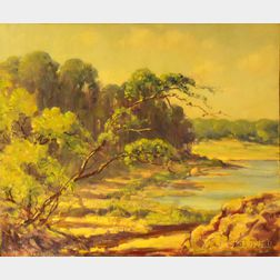 Unframed Oil on Artist Board, Landscape with Pond, by Frederick Mortimer Lamb (American, 1861-1936)