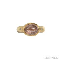 18kt Gold, Quartz, and Diamond Ring
