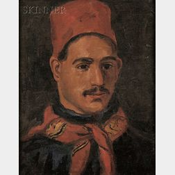 Attributed to William Morris Hunt (American, 1824-1879)      Portrait of a Man Wearing a Red Fez.