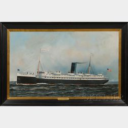 Antonio Nicolo Gasparo Jacobsen (American/Danish, 1850-1921)      Portrait of the Clyde Line Steamship S.S. APACHE.