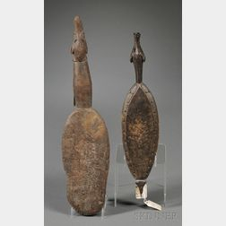 Two New Guinea Carved Wood Sculpture Mallets